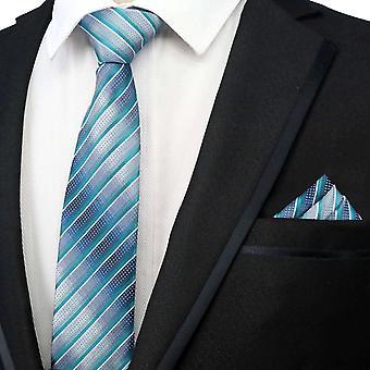 Green & silver stripe designer neck tie & pocket square