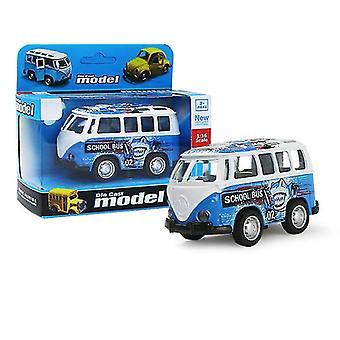 حافلة زرقاء مصغرة سحب السيارة انزلاق سبيكة، نموذج سيارة محاكاة مع يمكن فتح الباب az9084