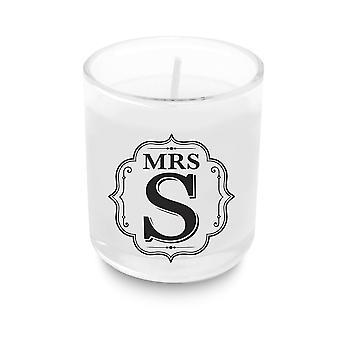 Heart & Home Alphabet Votive Candle - Mrs S