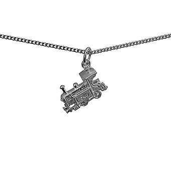 Silver 15x6mm Train Pendant with a curb Chain 24 inches