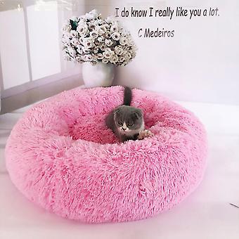 (Rosa) Haustier bett,Hund Katze Rund Warm Kuschelzwinger Soft Welpen Sofa Kissen Außendurchmesser 40 cm