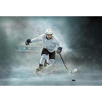Jogador de hóquei no gelo mural de papel de parede