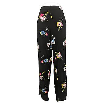 Susan Graver Pantalon pour femmes Reg Imprimé Floral Noir A374104