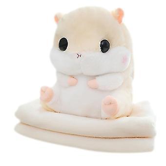 Schattige hamster pluche kussen pluche hamster auto kussen met deken (beige)