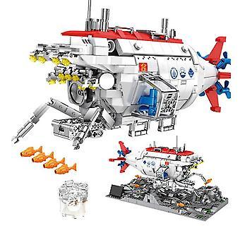 1288 City teknisk jiaolong dybhavsubåd byggesten nedsænket bemandet missil detektor mursten legetøj til børn