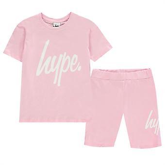 Hype Girls Camiseta y Ciclo Pantalones Cortos Set Crew Neck Short Sleeve Tee Short Kit