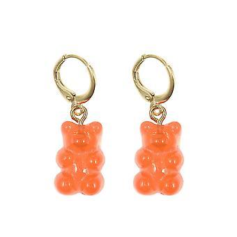 Gemshine Ohrringe 925 Silber vergoldet Gummibärchen Rot-Orange - Made in Spain
