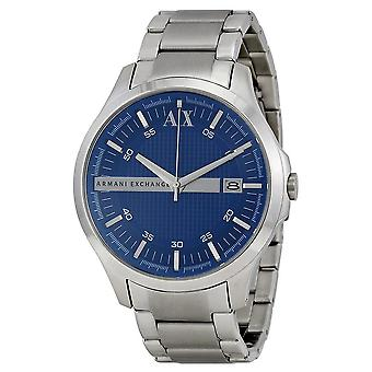 Armani Exchange Blue Textured Dial Stainless Steel Men's Watch AX2132