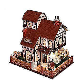 Diy europäische große Villa Puppenhaus Miniaturmöbel mit LED-Kits Puppenhäuser zusammenbauen Spielzeug
