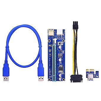 Pci-e Adapter Card Pcie1x naar 16x grafische kaart verlengkabel Dual 6pin zwart verguld