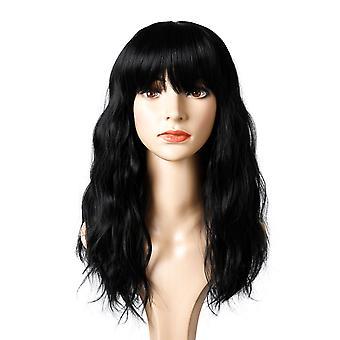 Brand Mall Peruki, Koronkowe Peruki, Realistyczne Puszyste Długie Włosy Kręcone Czarne Peruki