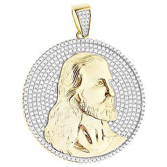 Prime Bling - en argent sterling 925 pendentif Jésus Medallion