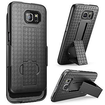 Galaxy S6 Case, i-Blason Transformer, Holster Case Combo with Kickstand and Locking Belt Swivel Clip-Black