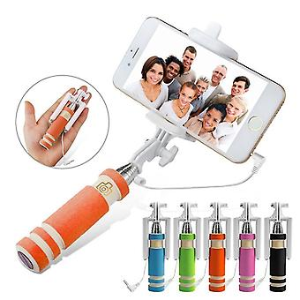 (Orange) Universal Adjustable Mini Selfie Camera Stick Pocket Sized Monopod Built-in Remote Shutter For Sharp Aquos S3 Mini