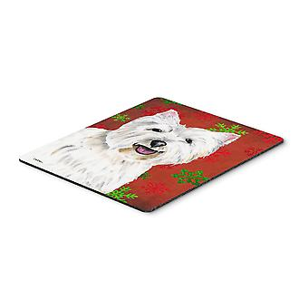 Westie Red and Green Snowflakes Holiday Christmas Mouse Pad, Hot Pad or Trivet