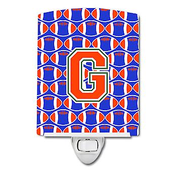Letter G Football Green, Blue and Orange Ceramic Night Light