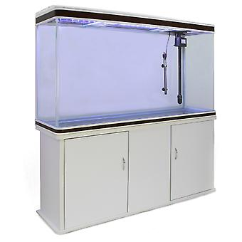 MonsterShop – Aquarium à bords Blanc et Noisette de 300 Litres, Meuble de Support Blanc, d'une dimension totale de 143,5 cm de Haut x 120,5 cm de Large x 39 cm de Profondeur