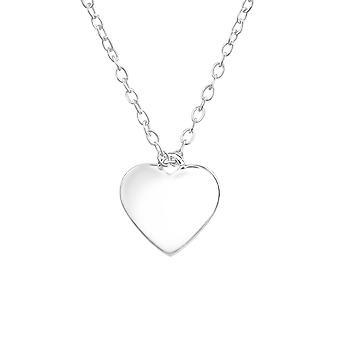 Corazón - collares de llanura de plata esterlina 925 - W36498X