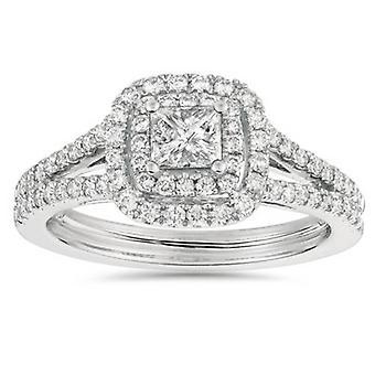 1ct Cut księżniczki diamentowych Halo podwójny pierścionek zaręczynowy 14K białe złoto