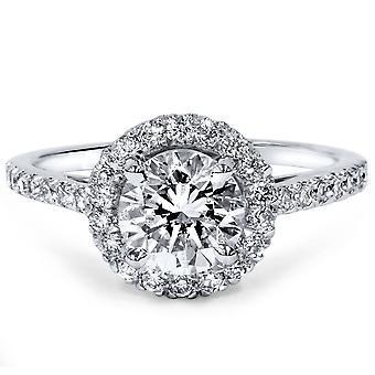 1 1/2ct Diamond Halo Engagement Ring 14K White Gold