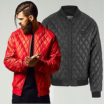 Urban classics - DIAMOND faux leather Quilted Jacket