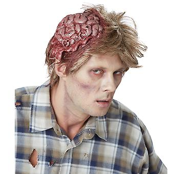 No Brainer Zombie Horror Mens Costume Blonde Wig With Sculpted Brain Piece
