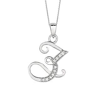 Sterling Silver Rhodium Plated Script Initial Letter Z With Diamonds On 18 Inch Chain ( 0.05 Tcw)