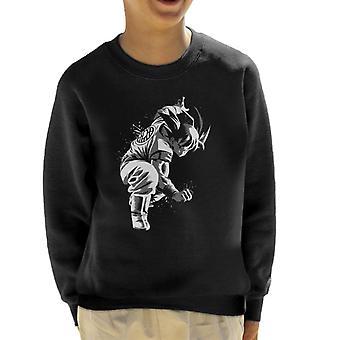 Dragon Ball Z Goku Crouch zwart-wit Kid's Sweatshirt