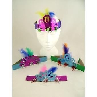 """Holografisk frynsede Tiaras 8"""" assorterede farver pakke med 100"""