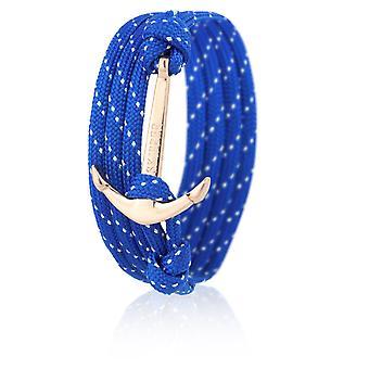 Nylon blue anchor 6643 glitter skipper anchor bracelet with gold