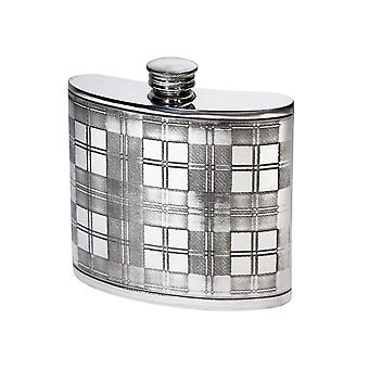 Tartan Embossed Kidney Pewter Flask - 6oz