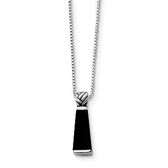 925 Sterling Silber solid poliert open zurück Rhodium vergoldet antike Finish simuliert Onyx Anhänger mit Kette Halskette 16