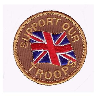 Union Jack Wear Support Our Troops Embroided Patch  6cm Wide