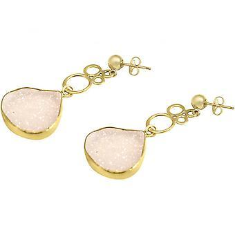 السيدات-حلق-فقاعات-925 الفضة-مطلية بالذهب-دروزي-روز الكوارتز-4، 5 سم