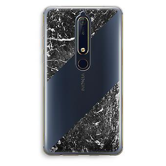 Nokia 6 (2018) gennemsigtig sag (Soft) - sort marmor
