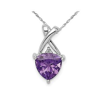 1.70 Carat (ctw) Amethyst Drop Pendant Necklace in Sterling Silver with Chain
