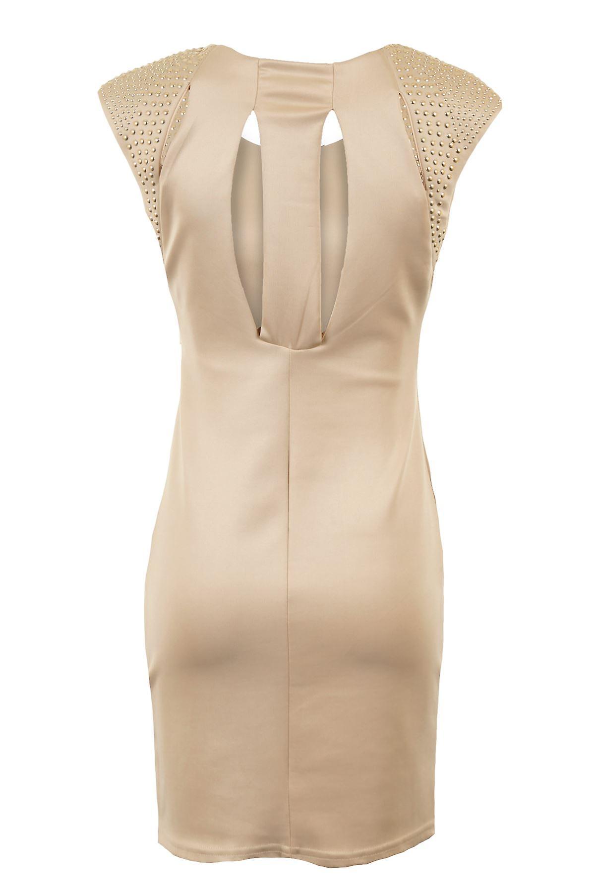Ladies Gold Studded Padded Shoulder Black Stone Stretch Bodycon Womens Dress