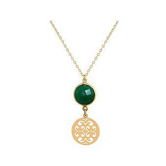 Colar gemshine feminino mandala prata esmeralda, banhado a ouro ou rosa