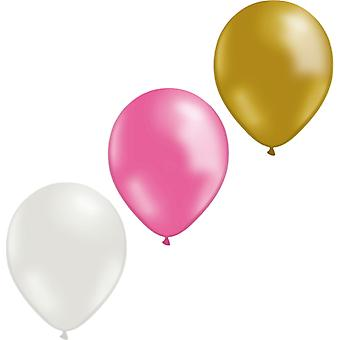 "Ballons 12-pack or, rose et blanc-30 cm (12 "")"