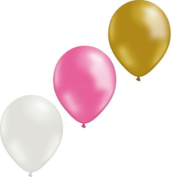 Ballonger mix 24-pack (8 guld/ 8 vita/ 8 rosa)