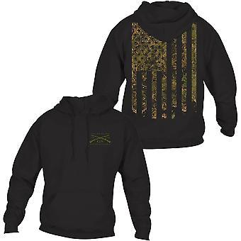 Grunt Stil Wald Camo Flagge Pullover Hoodie - schwarz