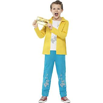 Roald Dahl Charlie Bucket Costume, Yellow, with Top, Trousers & Golden Ticket