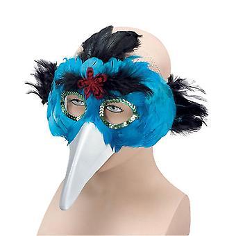 Fågel fjäder Mask & Beak.Turquoise.