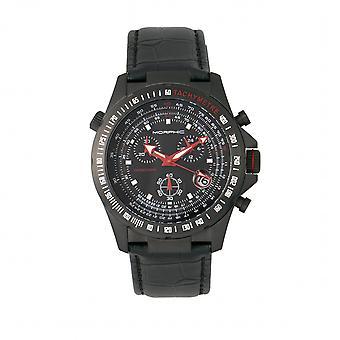 MORPHIC M36 serie lederen-Band chronograaf horloge - zwart/houtskool