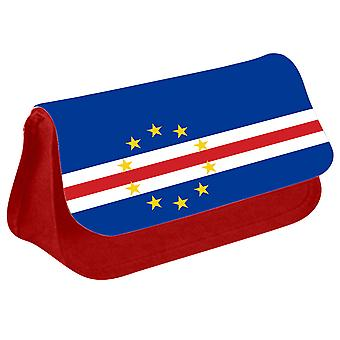 Cabo Verde Flag Printed Design Pencil Case for Stationary/Cosmetic - 0029 (Red) by i-Tronixs