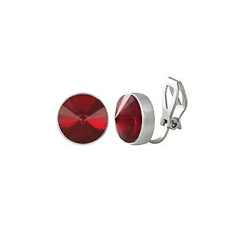 Eternal Collection Treasure Light Siam Red Crystal Silver Tone Stud Clip On Earrings