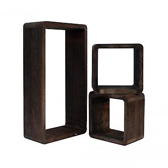 Möbel Rebecca Set 3 Regale Regale dunkel braun Holz Retro 41x24x9