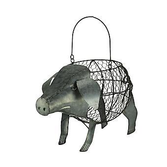 Galvanized Metal Art Standing Pig Basket Sculpture
