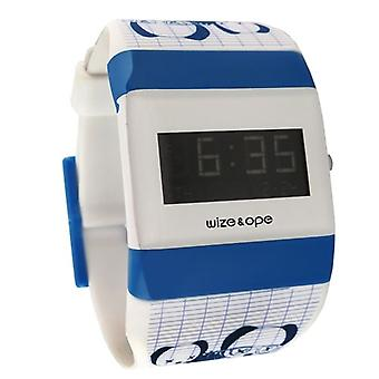 Wize and Ope Low-Rider White and Blue Digital  Watch WO-LR-1