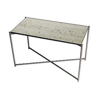 Gillmore Antiqued Glass Rectangular Side Table With Gun Metal Cross Base